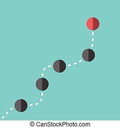 Spheres following leader - Black spheres following red...