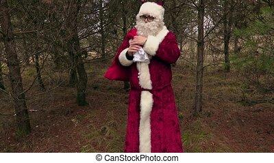 Santa Claus take gift bag on shoulder walking away