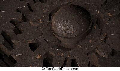 Old, rotating metal gears