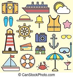 Outline web icon set of journey, vacation, cruise - Cruise...