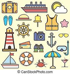 Outline web icon set of journey, vacation, cruise - Cruise...