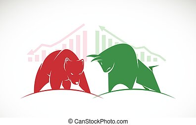 Vector of bull and bear symbols of stock market trends. The...