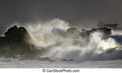 Seascape with beautiful storm light - Dramatic seascape with...