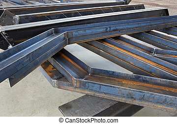 welded metal beams - new welded metal beams on modern plant