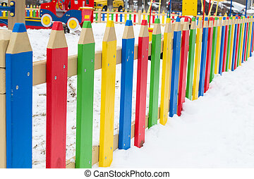 Colorful kindergarden fence