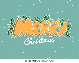 Merry Christmas Lettering Snowy Background