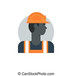 Black man, side view construction worker, labor force, contractor occupation job