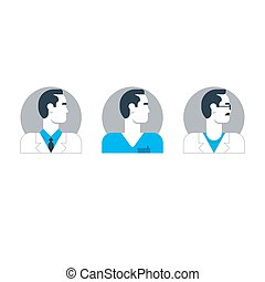 Doctor side view, man turned head, medical worker, surgeon,...