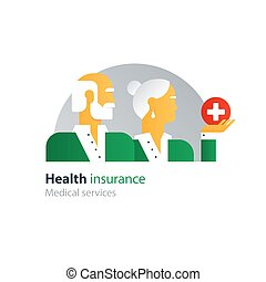 Health care insurance policy, old couple side view, annual check up, medical