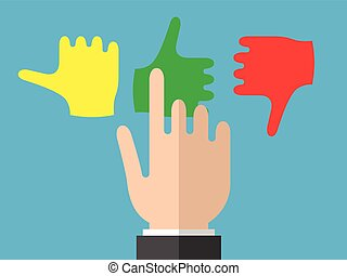 Businessman hand selects emotions