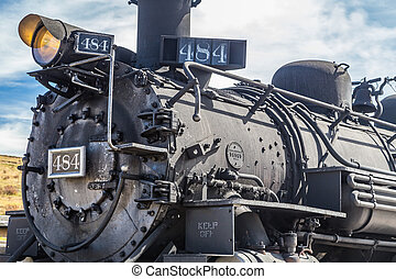 Locomotive 484 sits at a depot in Osier, Colorado in the San...