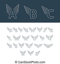 Alphabet letters with wings