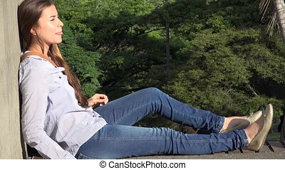 Teen Girl Relaxing Resting And Sitting
