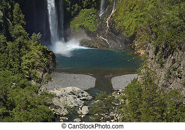 Waterfall Velo de la Novia (Bride's Veil) in Parque Nacional...