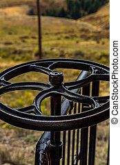Brake Wheel - A brake wheel on a narrow gauge railroad...