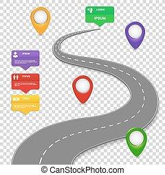 Navigation infographics design. Car road. - Navigation...
