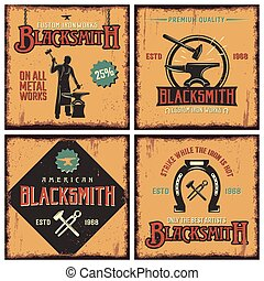 Blacksmith Retro Icon Set - Blacksmith retro icon set with...