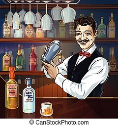 Smiling Barman At Work - Smiling barman at work with shaker...
