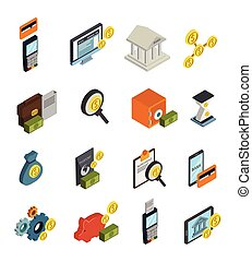 Atm Isometric Icon Set - Atm isometric isolated and colored...