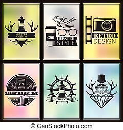 Hipster Post Card Set - Hipster post card set with...