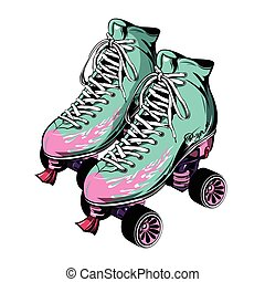 Quad Roller Skates - Quad roller skates with laced boots of...