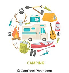 Tourist Camping Decorative Icons Set - Tourist camping...