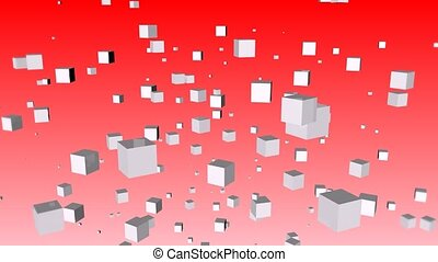 Abstract cube - Abstract white cubes of weightlessness on a...