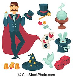 Magician holding golden coin. Vector Illustration....