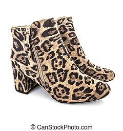 Leopardo, botas, piel