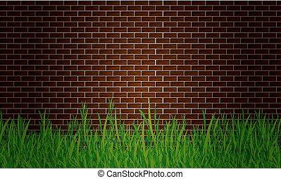 grass near the wall
