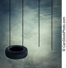 Swings - Two swings on a cloudy sky background, one whole...