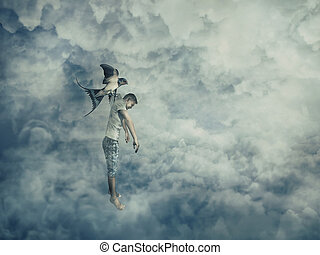 abduction - Flying bird carrying a powerless young boy...