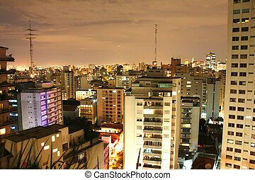Sao Paulo at night - Skyline of Higienopolis, Sao Paulo,...