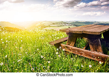 Beautiful summer landscape with wooden picnic place