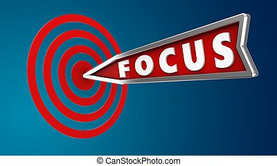 3d illustration of focus arrow with circles target over blue background