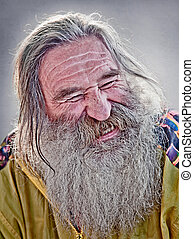 laughing old man - portrait of laughing old man with gray...