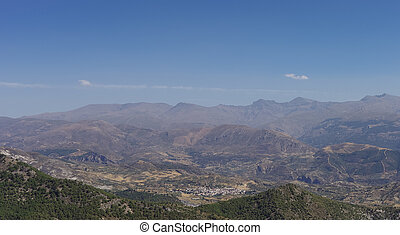 Panorama of  Sierra Nevada. A mountain range in the region of Andalusia in Spain