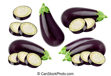 Eggplant isolated on white background, with clipping path