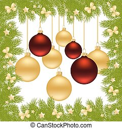 Merry Christmas Card of Gold and Red Balls Isolated on white...