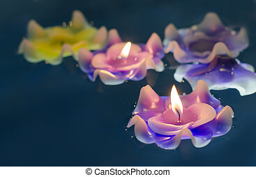 Candle light flower on the water - Fire on candle light...
