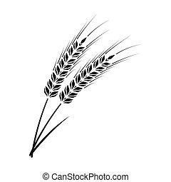 Ears of wheat pasta icon in black style isolated on white...
