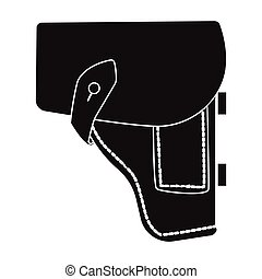 Army handgun holster icon in black style isolated on white...