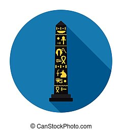 Luxor obelisk icon in flat style isolated on white...