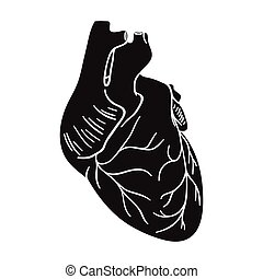 Human heart icon in black style isolated on white background. Human organs symbol stock vector illustration.