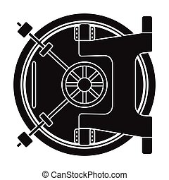 Bank vault icon in black style isolated on white background....