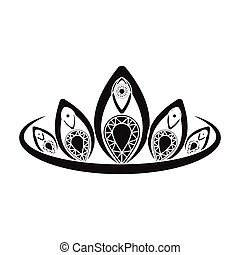 Diadem icon in black style isolated on white background....