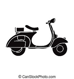 Italian scooter from Italy icon in black style isolated on...