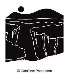 Grand Canyon icon in black style isolated on white...