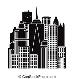 Megalopolis icon in black style isolated on white...