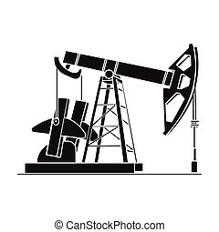 Oil pumpjack icon in black style isolated on white background. Oil industry symbol stock vector illustration.